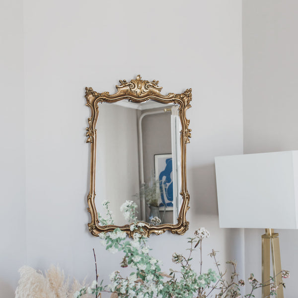 antique Rococo Gilded Rectangular Mirror