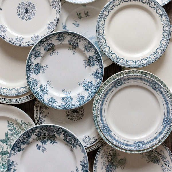 Antique Vintage Set of Mix and Match Blue and White Plates sold on Madame de la Maison www.madamedelamaison.com