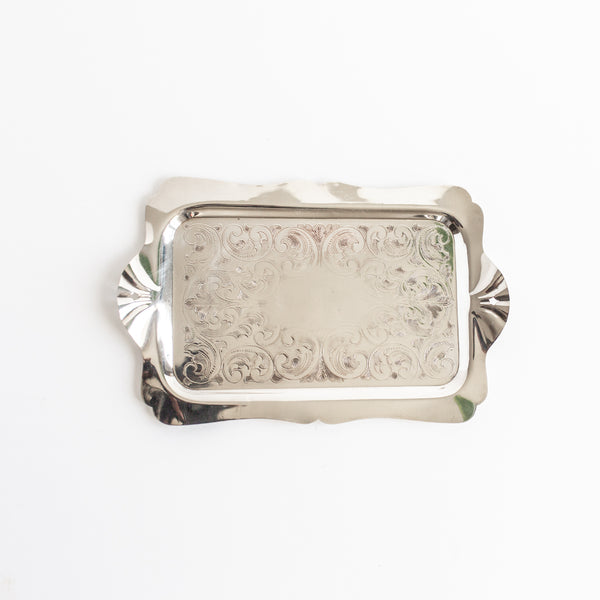 Antique engraved silver tray | Sold on Madame de la Maison