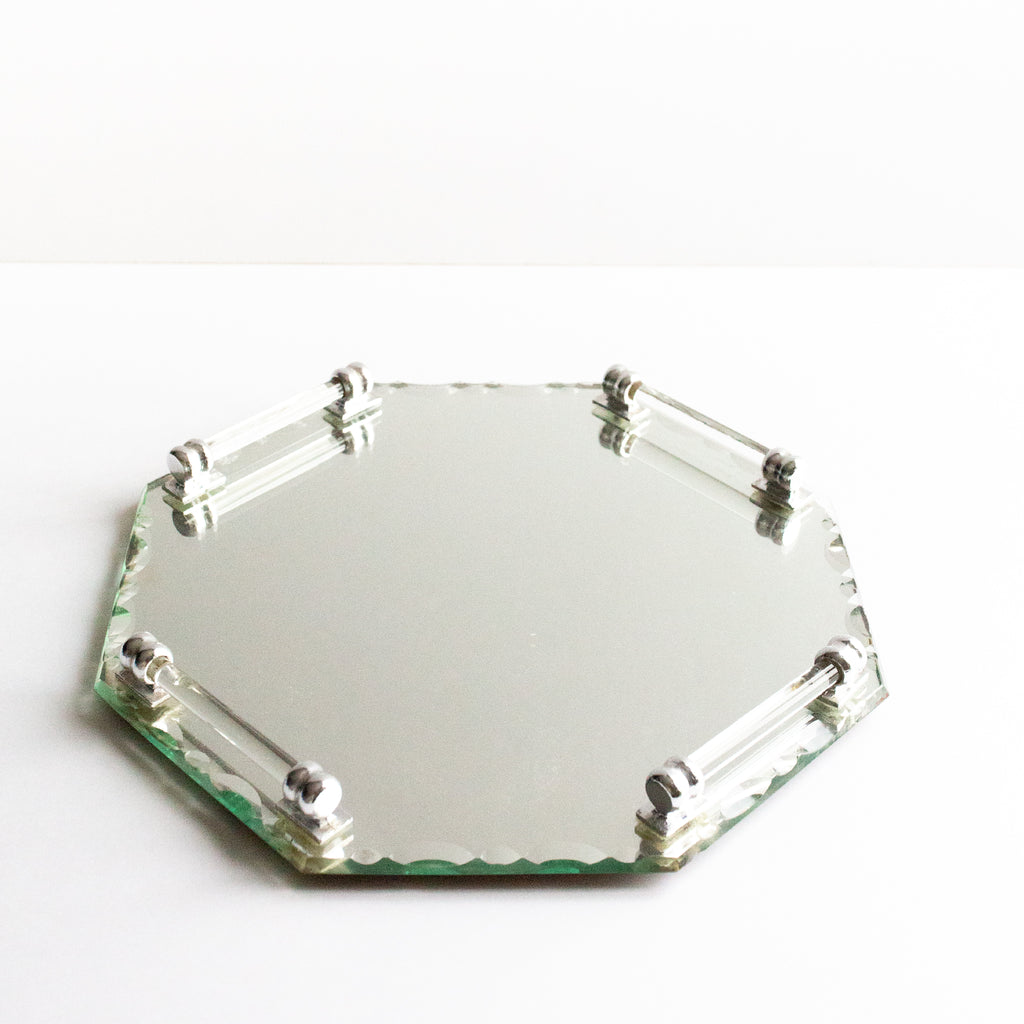 Mirror and lucite serving tray | Sold on www.madamedelamaison.com