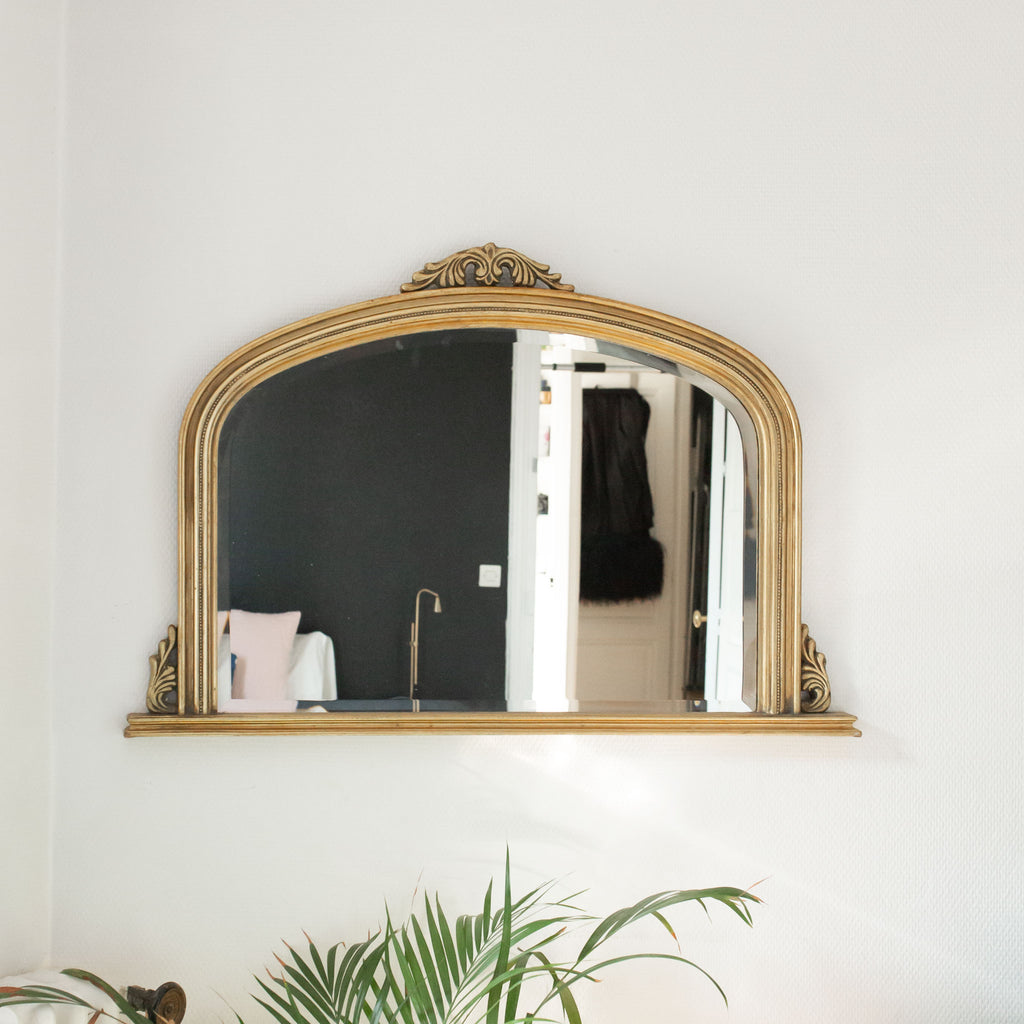 Gilded Mirror with Garlands and Pediment Base