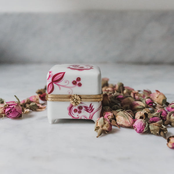 White and Rose Hand Painted Porcelain Limoges Ring Box Sold on Madame de la Maison