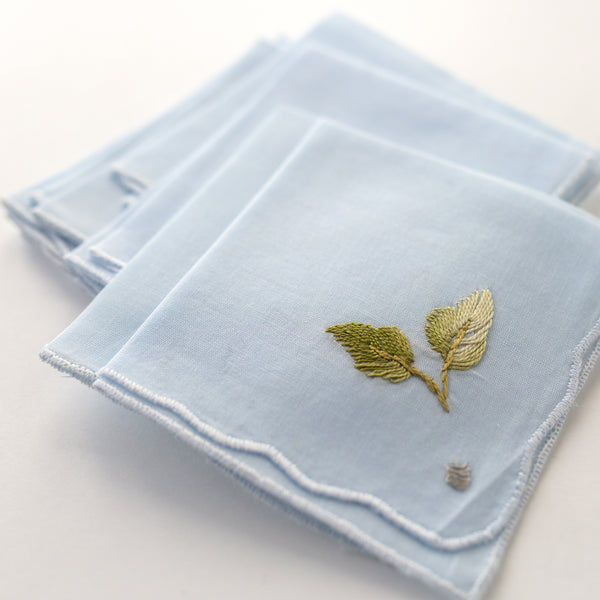 1950s Powder Blue Embroidered Cocktail Napkins (Set of 8)
