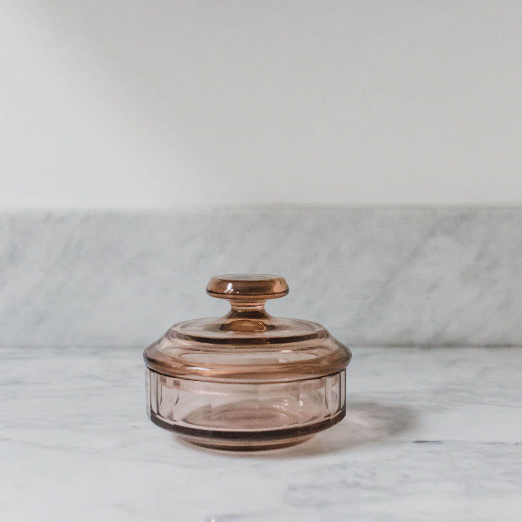 Round Rose Colored Glass Container with Lid Sold on Madame de la Maison