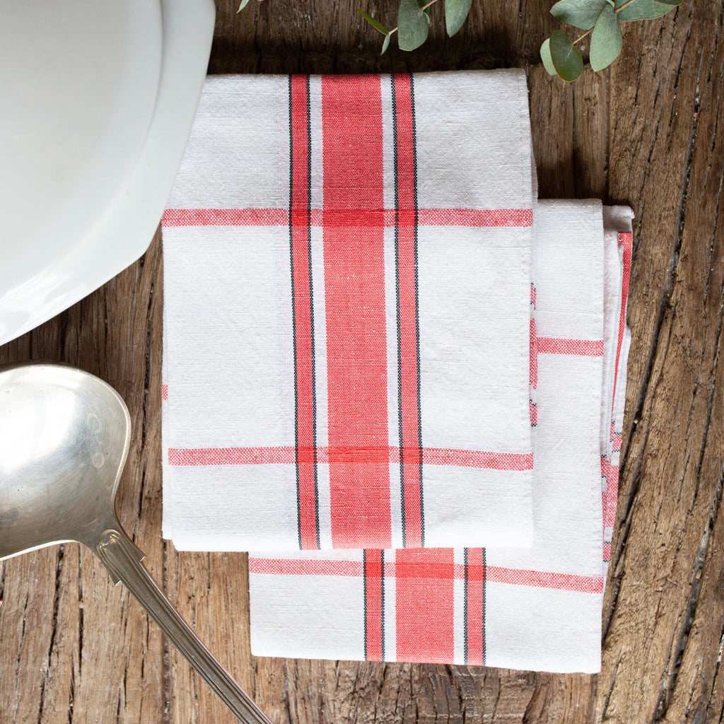 Antique Vintage Set of 2 French Vintage Red Checkered Kitchen Towels sold on Madame de la Maison www.madamedelamaison.com