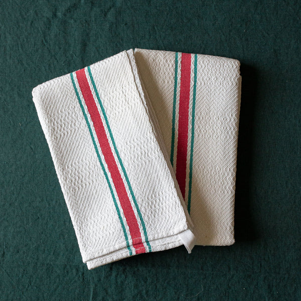 Set of Cotton Kitchen Towels with Red and Green Stripe