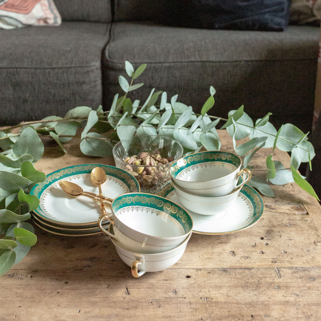 Set of 4 Hunter Green and Gold Limoges Tea Cups