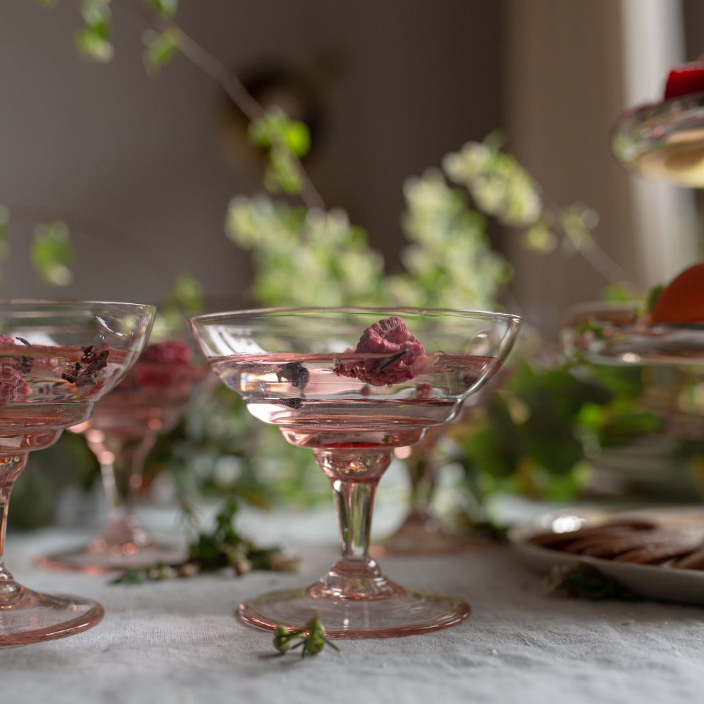 antique rose champagne coupes sold on www.madamedelamaison.com