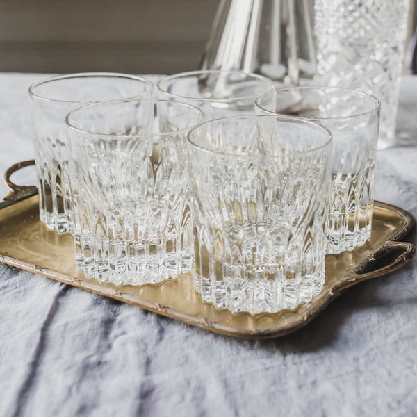 Set of 5 Antique Vintage Crystal Whisky or Whiskey Glasses sold on Madame de la Maison www.madamedelamaison.com