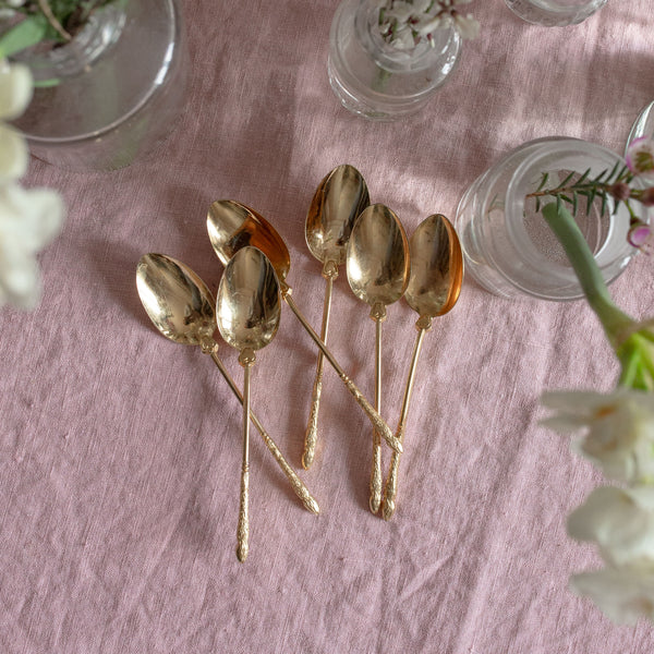 Set of 6 Gold Teaspoons with Paw Handles