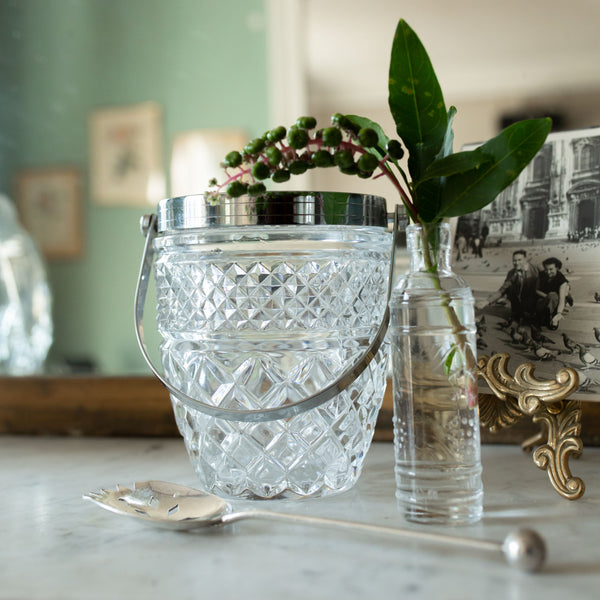 Antique Vintage Beveled Crystal and Silver Ice Bucket sold on Madame de la Maison www.madamedelamaison.com