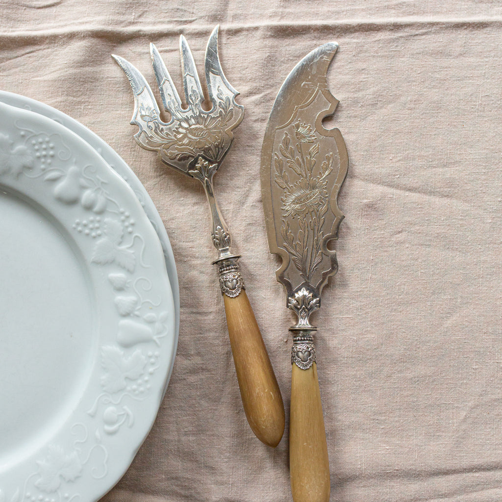 Set of Etched Silver Serving Utensils with Horn Handles