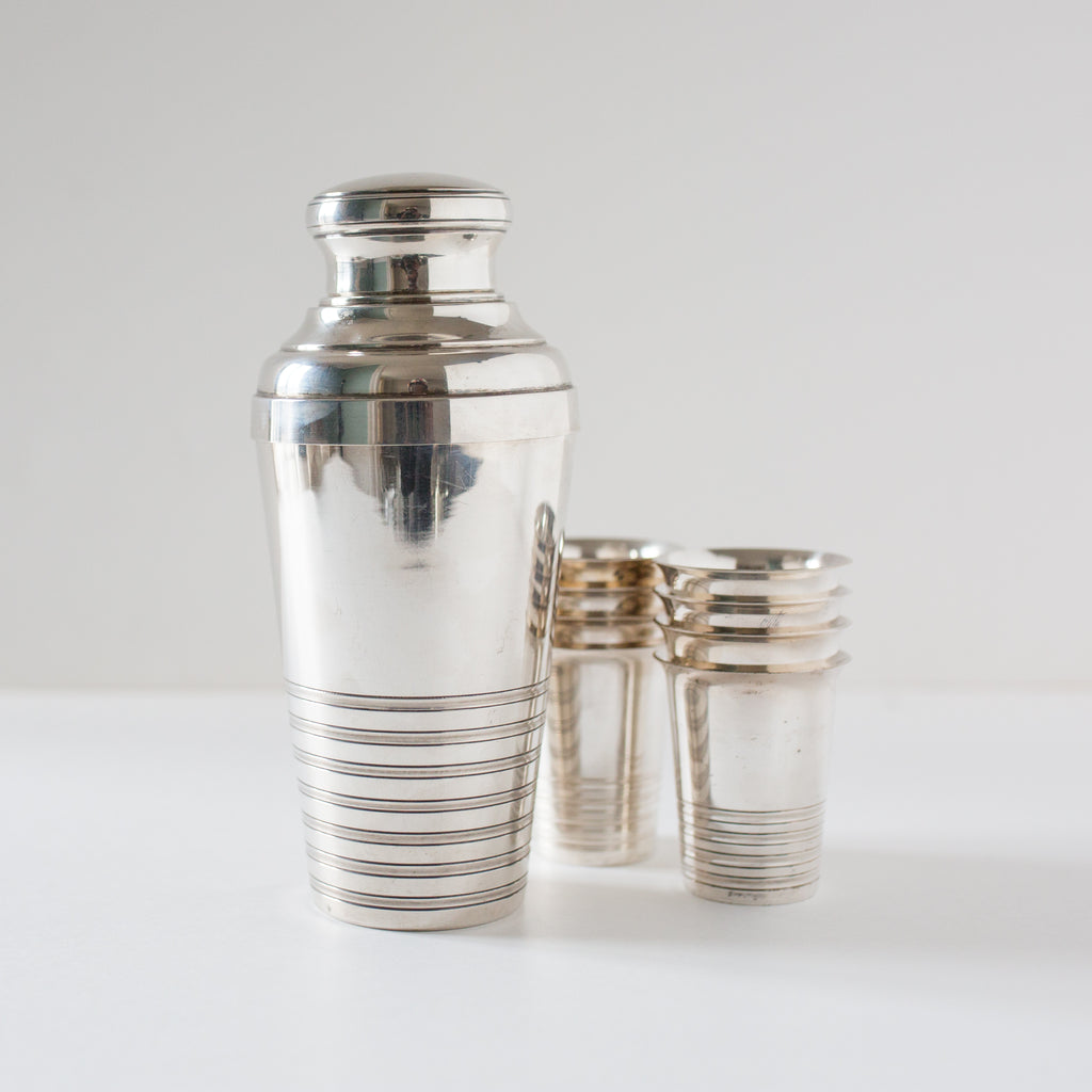 Silver Cocktail Shaker with Set of Matching Tumblers