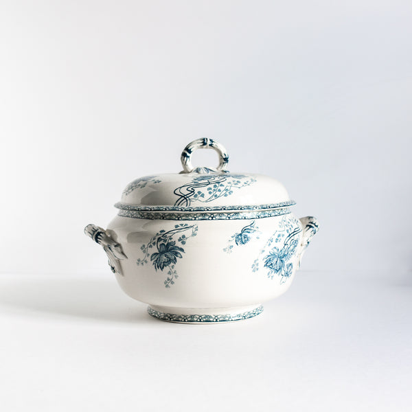 19th Century Blue-Green Art Nouveau Faïence Soup Tureen | Sold on Madame de la Maison