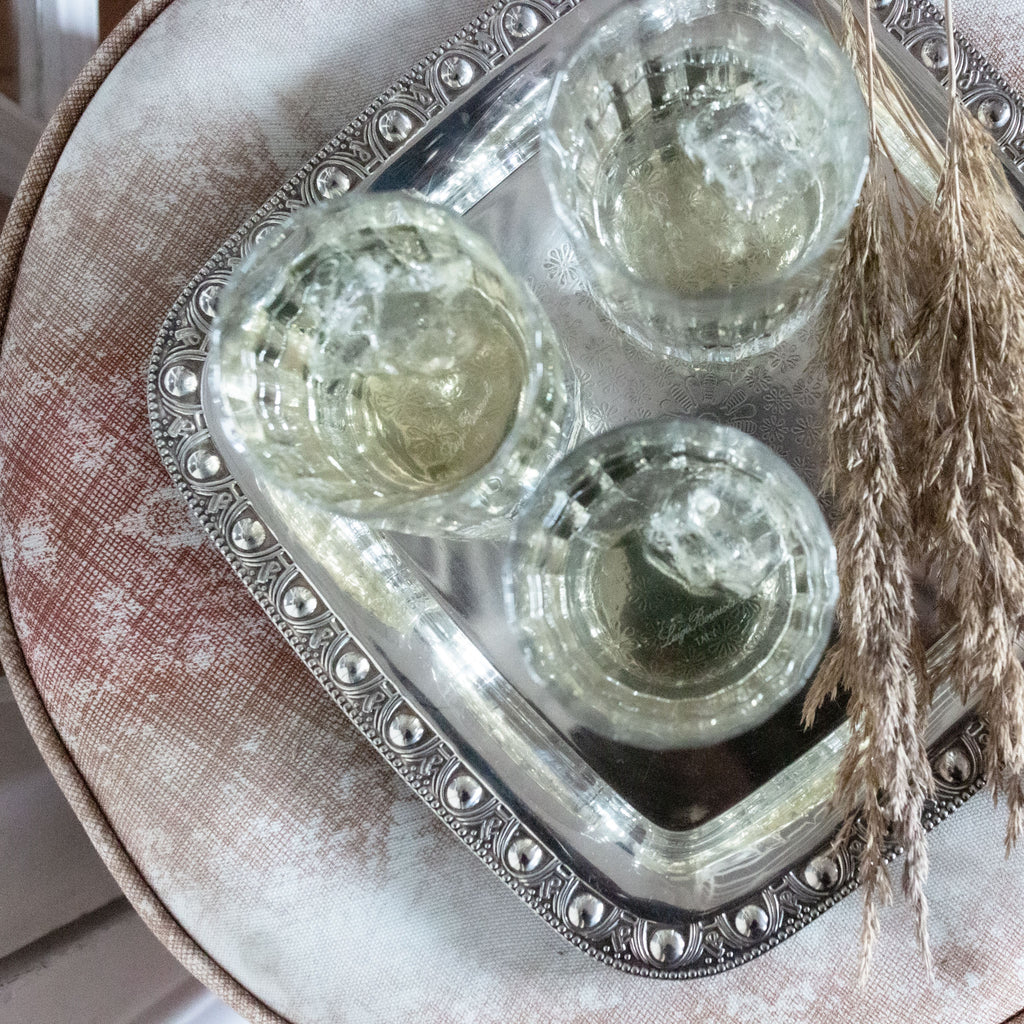 Antique silver square serving tray | sold on www.madamedelamaison.com