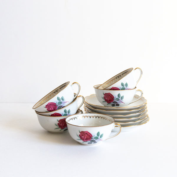 Set of Floral Teacups and Saucers