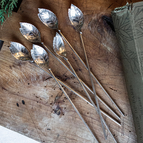 Set of 6 Sterling Silver Tiffany & Co. Leaf Stirring Spoons