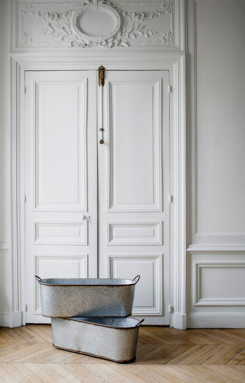 Antique tin buckets for rent from Madame de la Maison