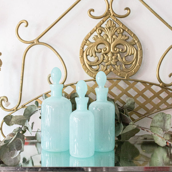 Antique Vintage Light Blue Aqua Opaline Bottles sold on Madame de la Maison www.madamedelamaison.com