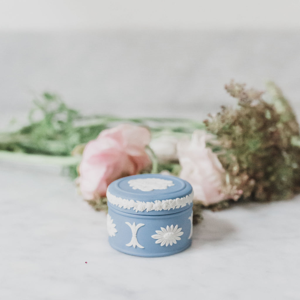 Small Blue Wedgewood Jasperware Box with Lid Sold on Madame de la Maison