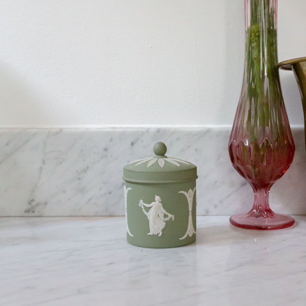 Sage Colored Wedgwood Wedgewood Jasperware Jar with Lid Sold on Madame de la Maison