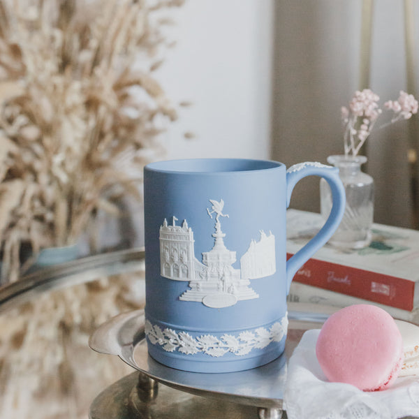 Antique Vintage Blue and White Wedgwood Jasperware Christmas Mug sold on Madame de la Maison www.madamedelamaison.com
