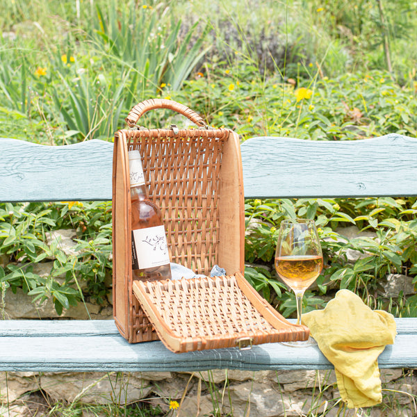 antique wine picnic basket sold on Madame de la Maison