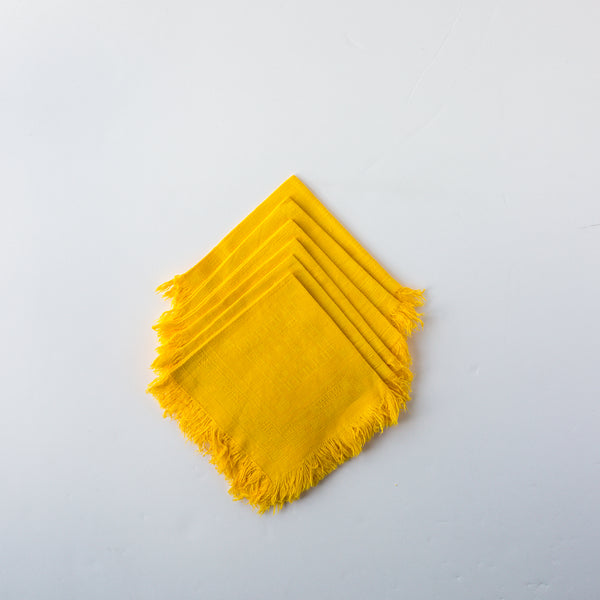 Yellow Damask Fringe Napkins