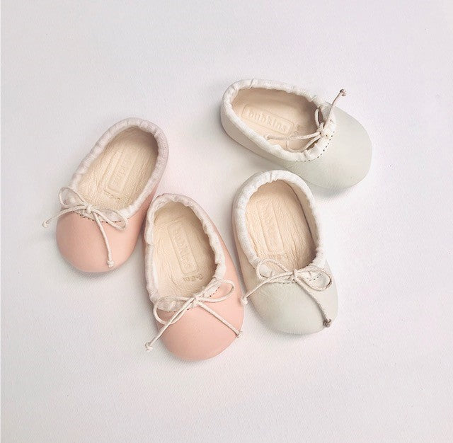 SALE Baby Ballet Pump | Smooth Leather Ivory & Shell