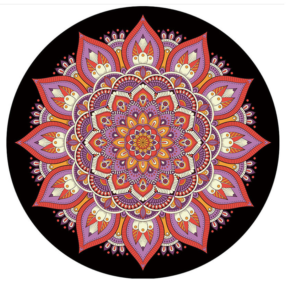 hippie mat towel tapestry handloom black round jaipur towels meditation cloths products yoga roundie table white cover mandala beach and