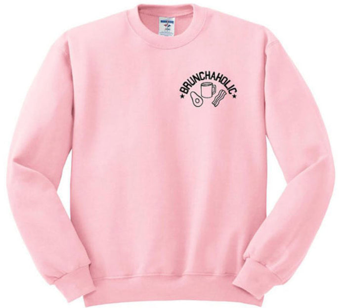 Eumerce Womens Must Have Fashion Brunchaholic Sweatshirt Pink Pullover Long Sleeve Crewneck Cotton Blouse