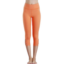 Eumerce Fashionable Summer Gym Sports Workout Yoga Capri Legging Pants (Orange Black Violet)