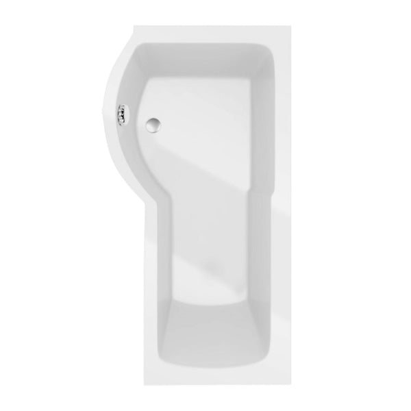 Allure 1700mm P Shape Shower Bath inc Screen and Panel - Left Hand White