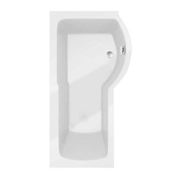 Allure 1700mm P Shape Shower Bath inc Screen and Panel - Right Hand White
