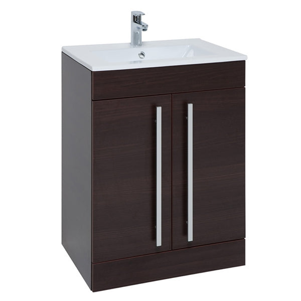 Pure 600mm Floor Standing 2 Door Bathroom Vanity Unit and Basin - Chestnut