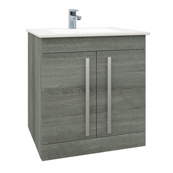 Pure 750mm Floor Standing 2 Door Bathroom Vanity Unit and Basin - Grey Ash