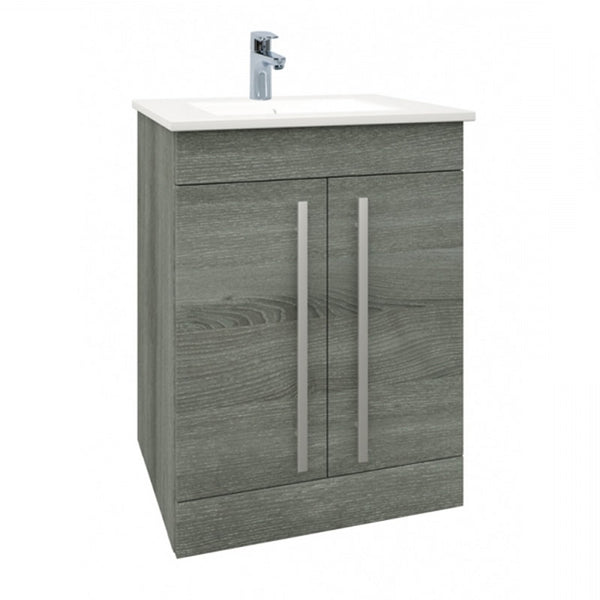 Pure 600mm Floor Standing 2 Door Bathroom Vanity Unit and Basin - Grey Ash