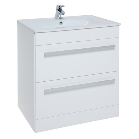 Pure 750mm Floor Standing 2 Drawer Bathroom Vanity Unit and Basin - White