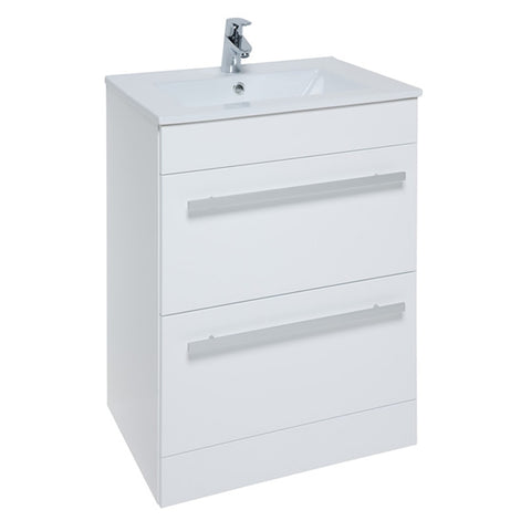 Pure 600mm Floor Standing 2 Drawer Bathroom Vanity Unit and Basin - White