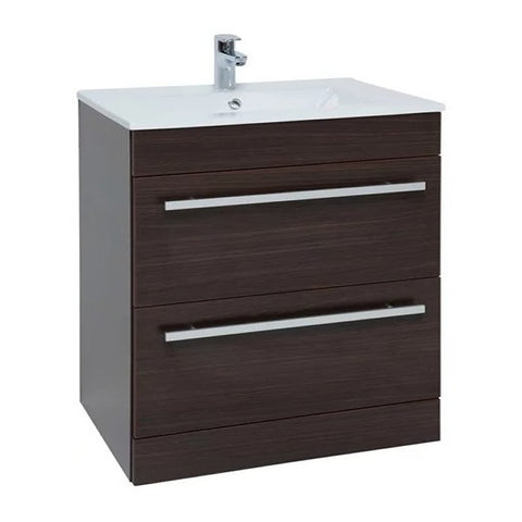 Pure 750mm Floor Standing 2 Drawer Bathroom Vanity Unit and Basin - Chestnut