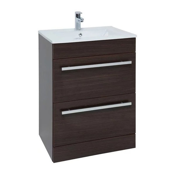 Pure 600mm Floor Standing 2 Drawer Bathroom Vanity Unit and Basin - Chestnut