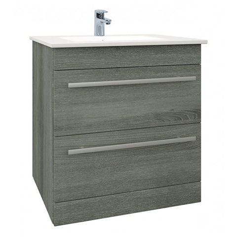 Pure 750mm Floor Standing 2 Drawer Bathroom Vanity Unit and Basin - Grey Ash