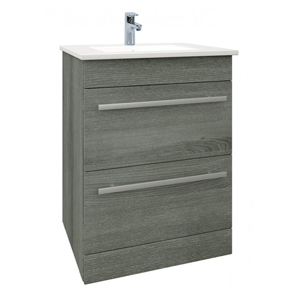 Pure 600mm Floor Standing 2 Drawer Bathroom Vanity Unit and Basin - Grey Ash