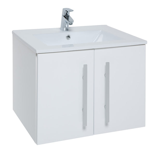 Pure 600mm Wall Mounted 2 Door Bathroom Vanity Unit and Basin - White
