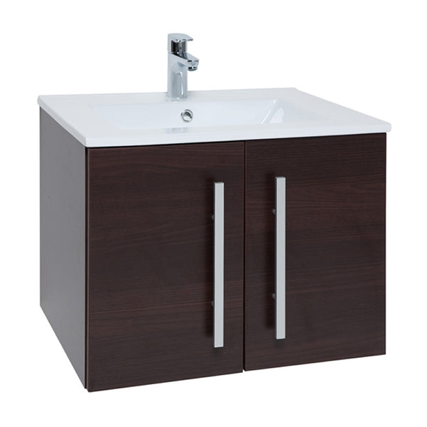 Pure 600mm Wall Mounted 2 Door Bathroom Vanity Unit and Basin - Chestnut