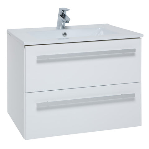 Pure 750mm Wall Mounted 2 Drawer Bathroom Vanity Unit and Basin - White