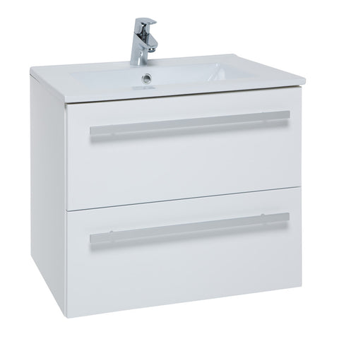 Pure 600mm Wall Mounted 2 Drawer Bathroom Vanity Unit and Basin - White