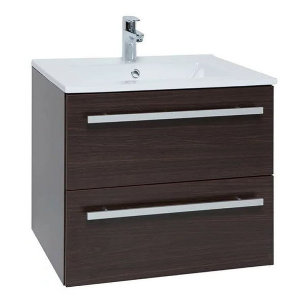 Pure 600mm Wall Mounted 2 Drawer Bathroom Vanity Unit and Basin - Chestnut