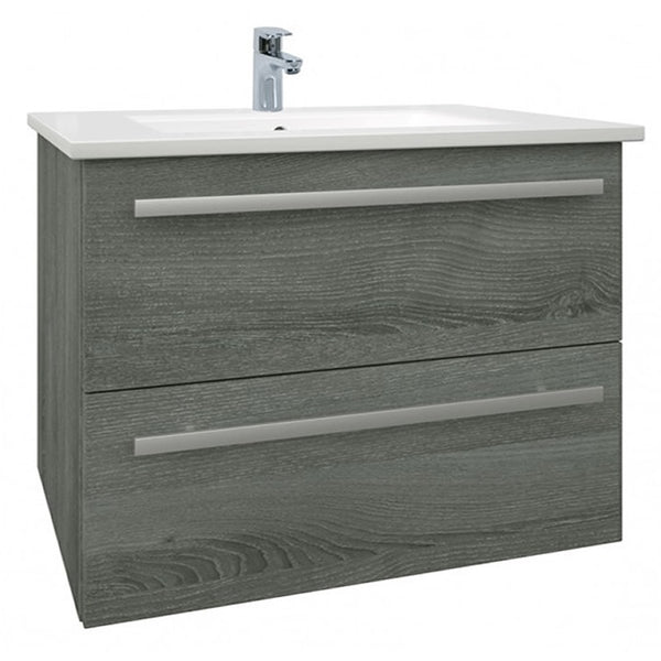 Pure 750mm Wall Mounted 2 Drawer Bathroom Vanity Unit and Basin - Grey Ash