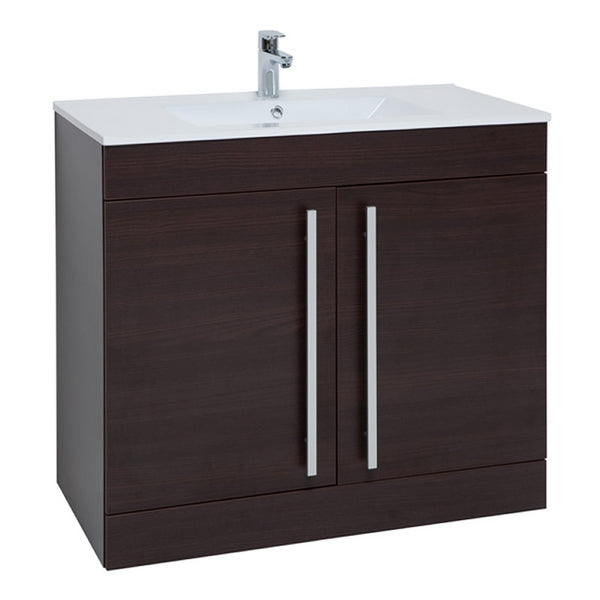 Pure 900mm Floor Standing 2 Door Bathroom Vanity Unit and Basin - Chestnut
